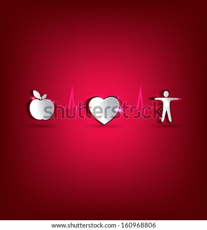 Medical health care concept illustration. Healthy food and fitness leads to healthy heart and life. Symbols cut out of paper and connected with heart rate monitoring line. Beautiful bright design. - stock vector