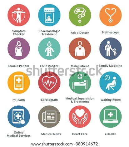 Medical & Health Care Icons Set 2 - Dot Series  - stock vector