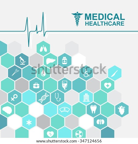 Medical health care - pulse wave and Hexagon icon About Doctors - stock vector