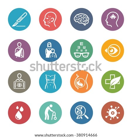 Medical & Health Care Specialties Icons Set 2 - Dot Series  - stock vector