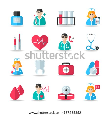 Medical healthcare icons set of heart tooth pill syringe isolated vector and doctor avatars illustration - stock vector