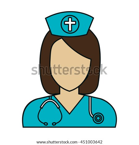 Medical healthcare nurse isolated flat icon, vector illustration graphic design.