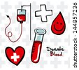 Medical icon and donate blood over white background - stock photo