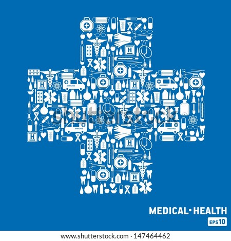 Medical icon background. Cross set. - stock vector