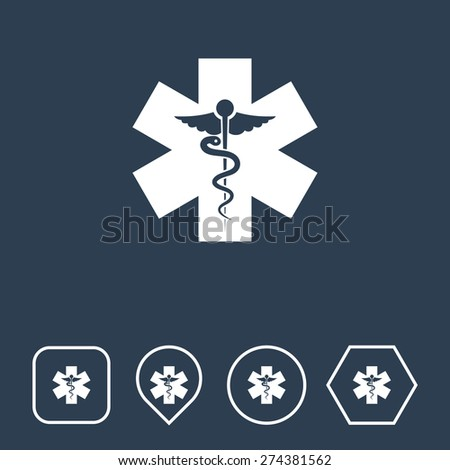 Medical Icon on Flat UI Colors with Different Shapes. Eps-10. - stock vector