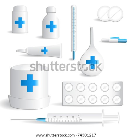 Medical icon set on a white background with a shadow - stock vector