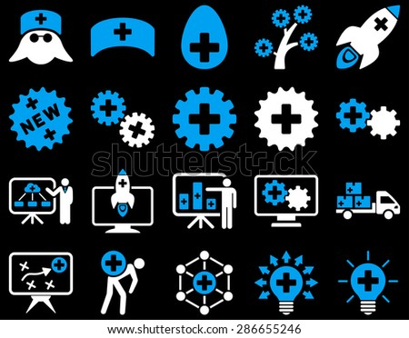 Medical icon set. Style: bicolor icons drawn with blue and white colors on a black background.