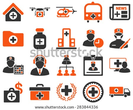 Medical icon set. Style: bicolor icons drawn with orange and gray colors on a white background. - stock vector
