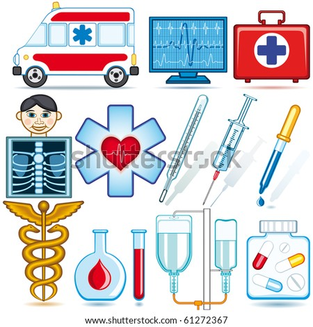 Medical icons and symbols set. Each object is fully editable and is located on a separate layer - stock vector