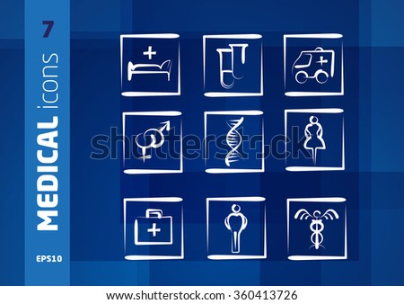 Medical Icons. Brochure. Leaflet. Symbols on the Background. Vector