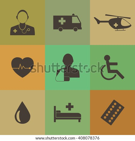 Medical Icons Collection Vector icon set. EPS 10.Retro color style. - stock vector