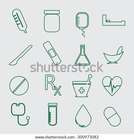 Medical icons, green color. - stock vector