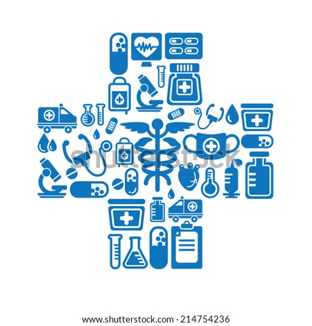 Medical Icons in Cross Shape - stock vector