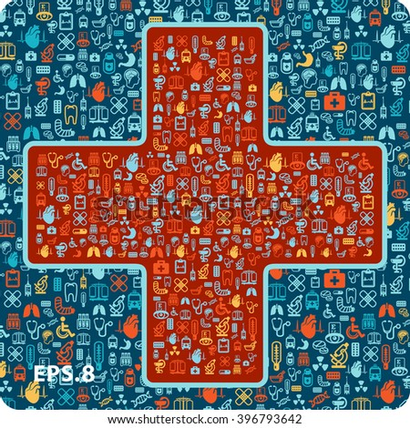 medical icons in the shape of a cross.eps8. - stock vector