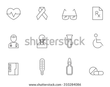 Medical icons in thin outlines. Doctor, surgeon, prescription. - stock vector