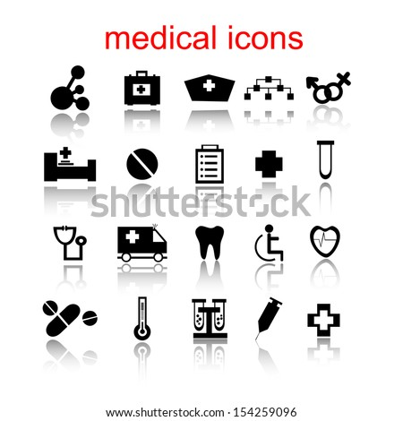 Medical icons, labels - stock vector