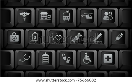 Medical Icons on Black Computer Keyboard Buttons Original Illustration