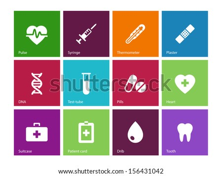 Medical icons on color background. Vector illustration.