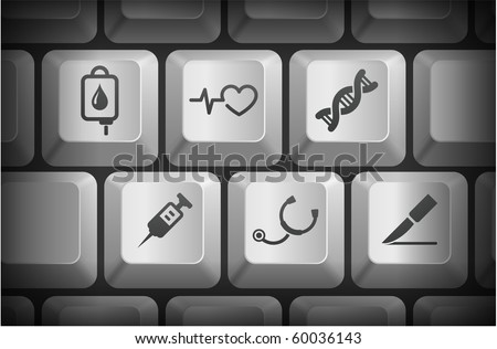 Medical Icons on Computer Keyboard Buttons Original Illustration - stock vector
