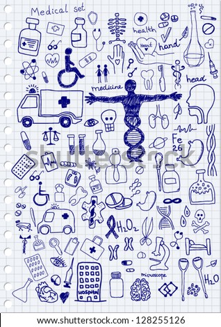 Medical Icons on paper background - stock vector