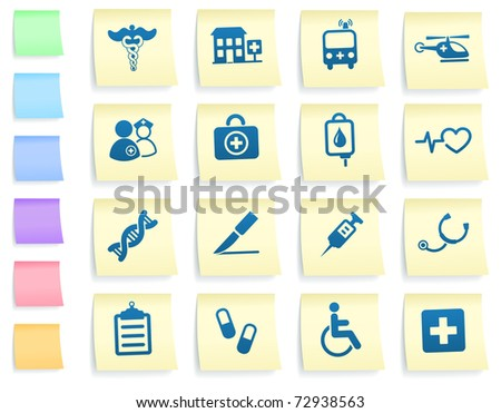 Medical Icons on Post It Note Paper Collection Original Illustration - stock vector