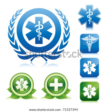 medical icons on various glossy button - stock vector