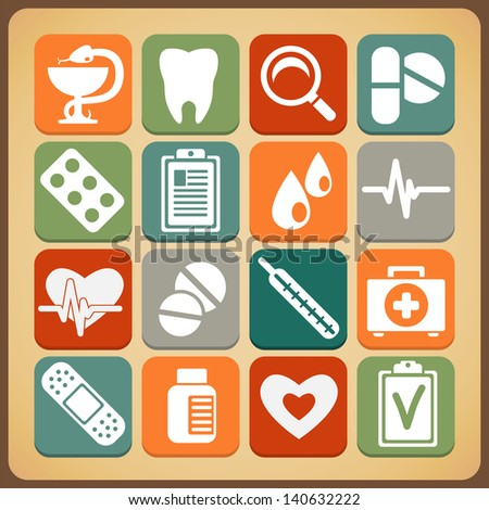 Medical Icons retro style - stock vector
