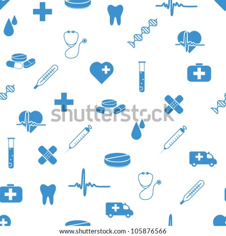 medical icons seamless pattern - stock vector
