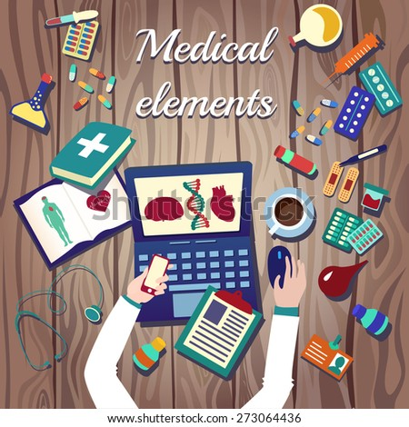 Medical icons set: doctor, plaster, medical book, heart, thermometer, cross, pills and other. Healthcare infographic elements. Vector illustration made in flat design - stock vector