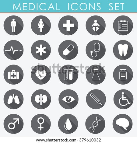 Medical Icons Set grey and green - vector eps10 - stock vector