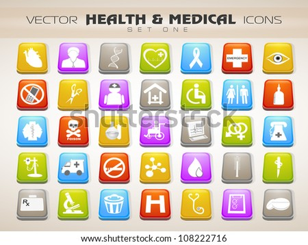 Medical icons set isolated on grey background. EPS 10 - stock vector