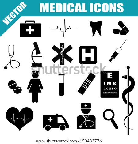 Medical Icons Set on white background, vector illustration - stock vector