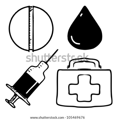 Medical icons set. Sketch hand drawing vector objects isolated on white background - stock vector