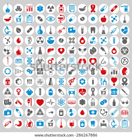 Medical icons set, vector set of 144 medical and medicine signs. - stock vector