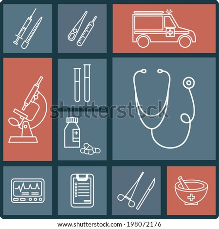 Medical icons set, white lines healthcare elements - stock vector