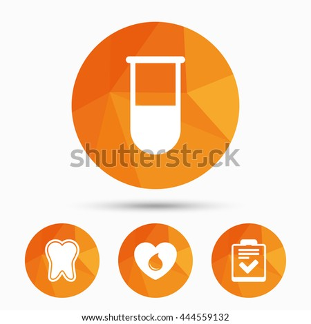 Medical icons. Tooth, test tube, blood donation and checklist signs. Laboratory equipment symbol. Dental care. Triangular low poly buttons with shadow. Vector - stock vector