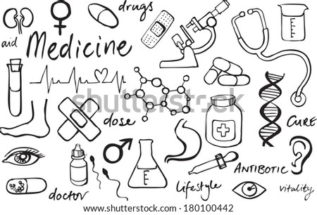 Medical icons vector doodle - stock vector