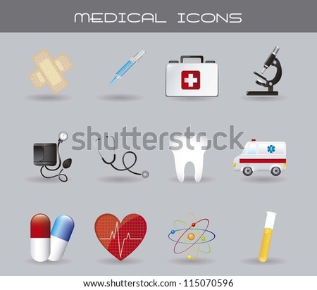 medical icons with shadow over gray background. vector illustration - stock vector