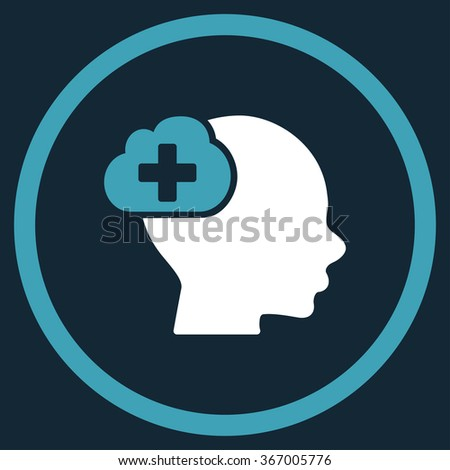 Medical Idea vector icon. Style is bicolor flat circled symbol, blue and white colors, rounded angles, dark blue background. - stock vector