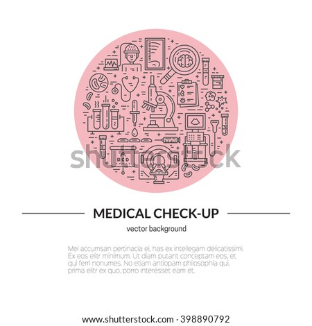 Medical illustration made in line style vector. Vecor icons with medical check-up and diagnostic process - xray, MRI, blood testing, microscope and other medical gear.  - stock vector