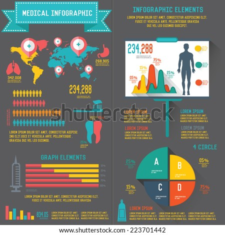 Medical info graphic design on dark background,clean vector - stock vector