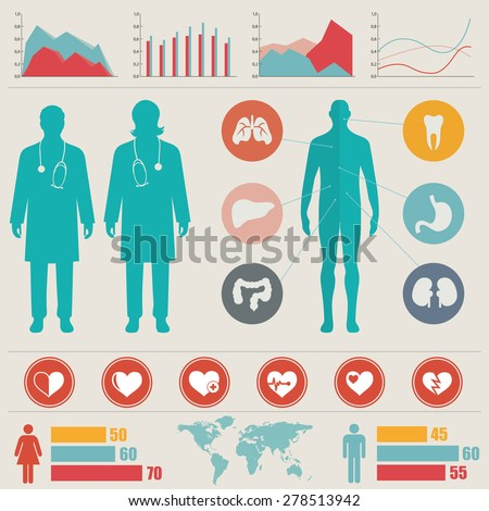 Medical Info graphic set. Vector illustration. - stock vector