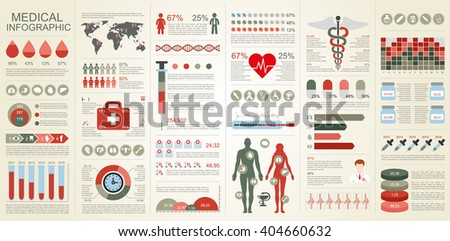 Medical infographic vector design template. Can be used for workflow, health and healthcare, diagram, infographic banner, web design, bundle infographic elements, set information infographics. - stock vector