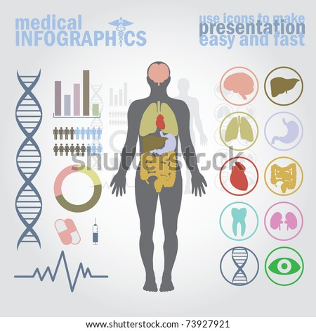 Medical infographics. Presentation set. Human body with internal organs plus buttons. Diagram (graph), cardio gram. - stock vector