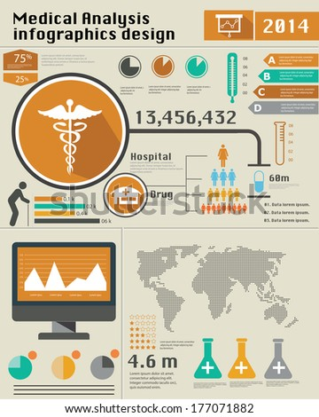 Medical Infographics,Vintage style,vector - stock vector
