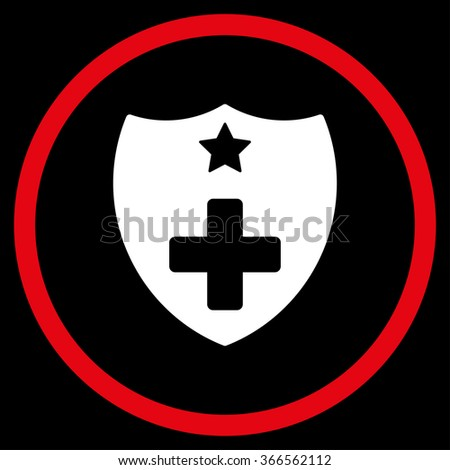Medical Insurance Shield vector icon. Style is bicolor flat circled symbol, red and white colors, rounded angles, black background.