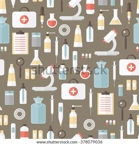 Medical kit. Big set of different objects. Health care illustration. Icon flat design. Seamless pattern.