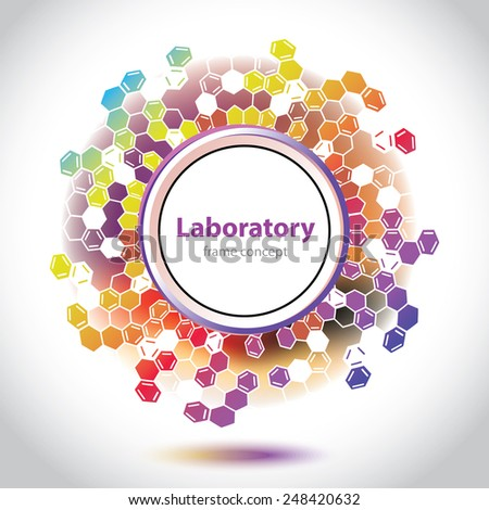 Medical laboratory circle element - Science and Research - hexagonal grid - cells and molecules - laboratory research - chemical formulas - DNA research - Universal element - vector graphics - stock vector