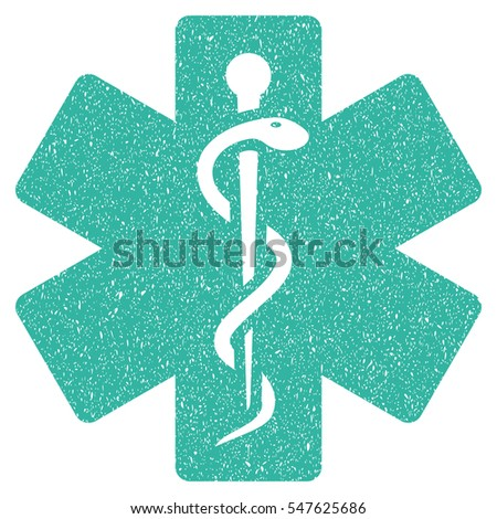 Medical Life Star grainy textured icon for overlay watermark stamps. Flat symbol with unclean texture. Dotted vector cyan ink rubber seal stamp with grunge design on a white background.