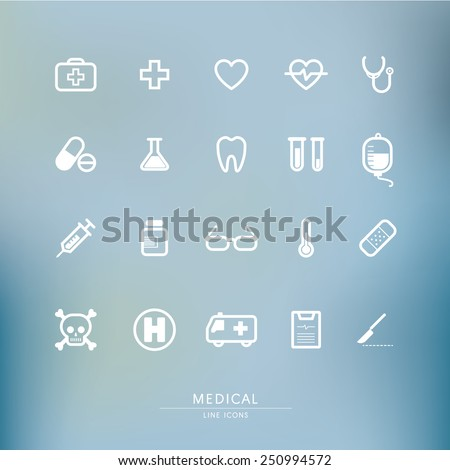 medical line icon set with blur background - stock vector